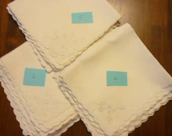 """Fab 17 Pristine MADEIRA LINEN  Napkins...Richelou Cutwork..Hand Embroidery...12"""" Square...FREE Shipping"""