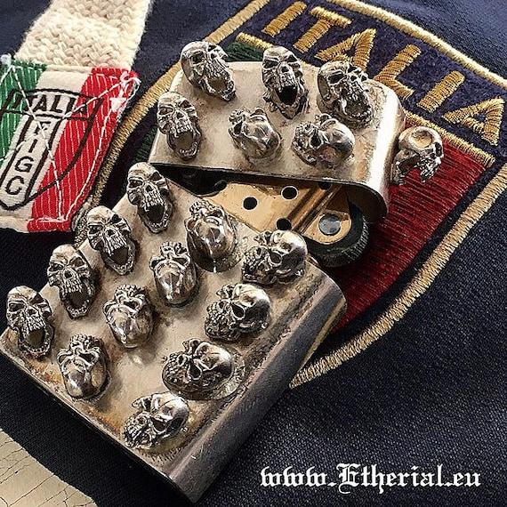 Etherial Jewelry - Rock Chic Talisman Luxury Biker Custom Handmade Artisan Pure Sterling Silver .925 Bespoke Screaming Skull Lighter Case