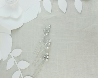 Set of Three Bridal Crystal Hair Pins, Crystal Vine Hair Pins, Wedding Hair Accessories