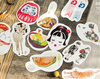 10pcs // TRIP IN JAPAN // Die Cut Card // Bunting // Mailing Postcards // Tags // Photo Background // Wall Decor // Bookmark // Craft