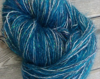 """Skein of mohair sparkly """"teal"""""""
