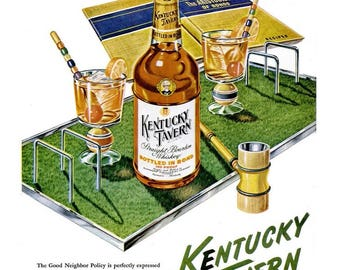 1948 Kentucky Tavern Liquor & Sunbeam Mixmaster Ad Vintage Croquet Game Neighbor Gift Whiskey Alcohol Bar Pub Tavern Wall Art Home Decor