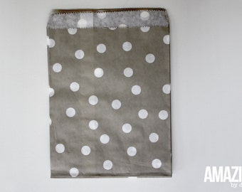 25 grey bakery treat bags with white polka dots