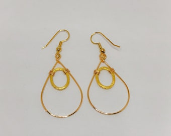 Gold Teardrop Hoop Earrings, with Gold Oval Brushed Rings, wire Wrapped. Made in Hawaii