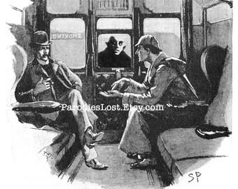 Sherlock HOLMES VAMPIRE Dr. Watson Deerstalker Train Print Nosferatu Zombie