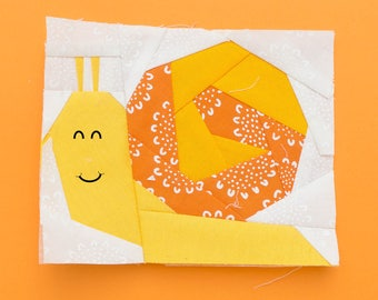 Snail Paper piecing pattern - Quilt block pattern