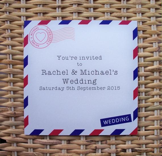 Airmail Wedding Invitations: 25 Personalised Airmail / Destination Wedding Invitations P&P