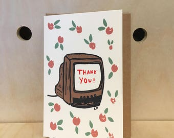 Thank You Greeting Card - Hand Pulled Screen Print