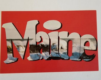 MAINE POSTCARD / Vintage MAINE Large letters Souvenir Postcard Pine Tree State Unused Unposted Very Good Cond