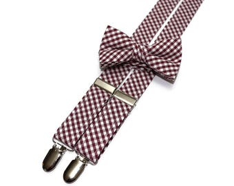 Boys Burgundy Check Suspenders~Wedding Suspenders~Wedding Accessory~Boys Suspender Set~Gingham~Matching Bow Tie and Suspenders
