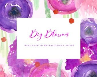 Watercolour Flowers - Hand Painted Clip Art - Big Blossom