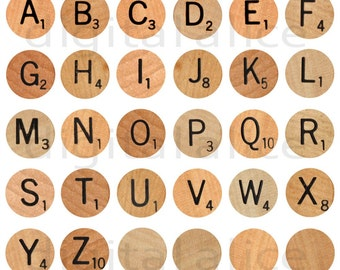Vintage SCRABBLE LETTERS Craft Circles Instant Download Digital Printable 30mm DiY Print As Many