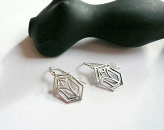 Art deco earrings Silver earrings Frank Lloyd Wright Art deco dangles Geometric earrings 1920s dangles Silver dangles Sterling earrings Gift