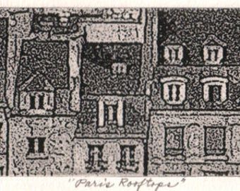 Paris Rooftops, signed, fine art etching