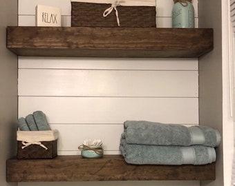 "4"" Depth Floating Shelf - Floating Shelves -Rustic Floating Shelf - Wide Floating Shelf - Chunky Shelves - Ledge Shelf - Wood Shelf"