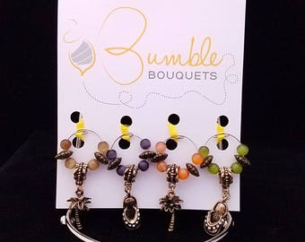 Wine glass marker - tropical paradise charms