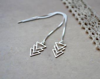 Arrow Threader Earrings, Sterling Silver Triangle Earrings, Minimalist Jewelry, Geometric Chevron Earrings, Long Silver Earrings, Wife Gift
