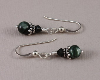 Seraphinite and Swarovski Jet: sterling silver pierced earrings