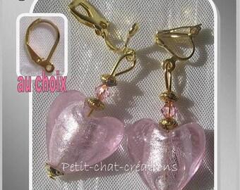 "CLIPS / CHOICE PINK ""SWEET HEART"" CRYSTAL GLASS EARRINGS"