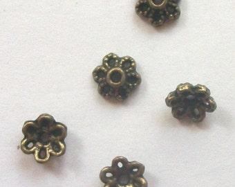 100 Antique Bronze Flower Bead Caps 6mm -- ANTIQUE BRONZE jewelry findings  B-102