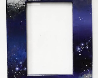 Wooden Picture Photo Frame, Hand Painted Acrylic Outer Space, Stars