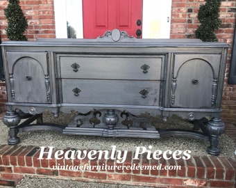 Antique Jacobean Buffet, Sideboard, Hand Painted