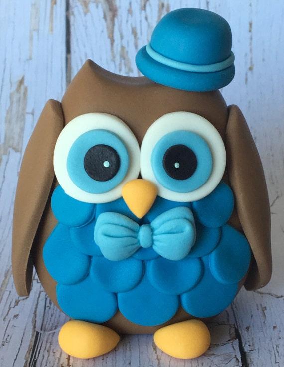 Edible 3D fondant OWL cake topper Cake decorations Boy birthday