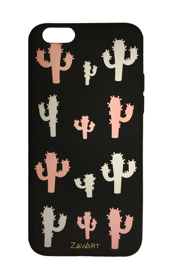 CACTUS Rubber Phone case  • Iphone 6 phone case • Iphone 6S phone case • Funda goma negra • cactus phone case • funda movil • funda IPHONE 6