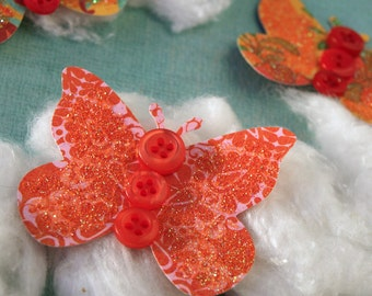 Butterflies - Marigold Patch - set of 5 paper butterfly accents