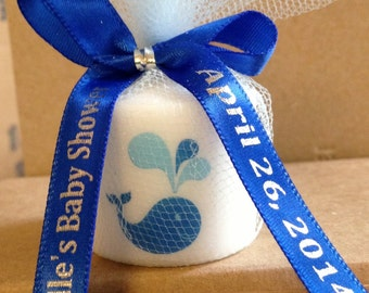 30 Baby Shower Favors, Candle Favors, Wedding Favors, Whale themed Favors, Baptism , Holy Communition Favors