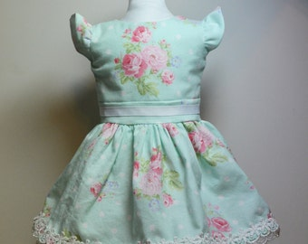 """Easter Dress and Basket 18"""" Doll Blue Pink Rose Print Lace"""