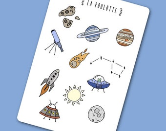 """2 sheets of stickers """"planets"""" - bullet journal, notes, decoration"""