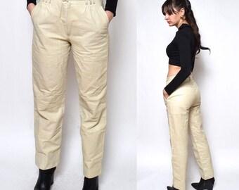 Vintage 80's  Beige Genuine Leather Pants/ Real Leather High Waist Pants - Size Medium