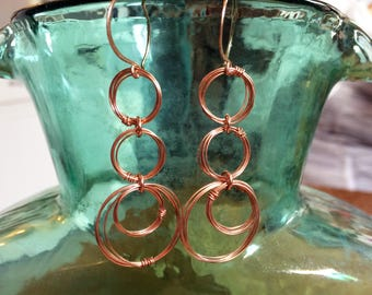Rose Gold Open Circle Drop Earrings 14kt Rose Gold Fill Hoop Dangles Rose Gold Wire Wrapped Rings Earrings Coiled Wire Jewelry