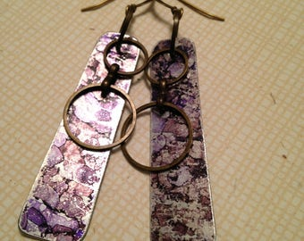 Purple and gray ink on lightweight aluminum charms 2-1/2 inch dangle earrings