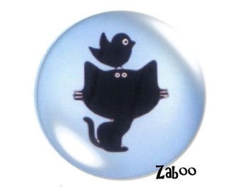 4 cabochons 16mm glass, cat and bird silhouette, blue and black
