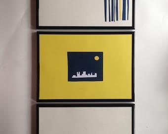 Set of 3 Handmade Framed A4 Paper Art Cityscape