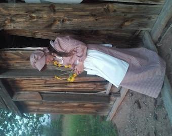 Ladies Pioneer Dress, Apron, Bonnet, Prairie Dress Set, Trek Outfit