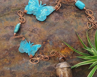 Wind Chimes - Copper Wind Chime - Butterfly Wind Chime - Blue Patina Wind Chime - Garden Decor - Porch Decor - Birthday Gift - Butterfly