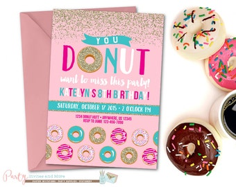 Donut Birthday Invitation, Donut Invitation, Donut Party Birthday Invitation, Pink and Gold Donut, Glitter, Gold, Donuts, Donut Birthday