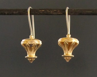 14k solid yellow gold earrings/ Byzantine/ petal lantern style/ leaf finial