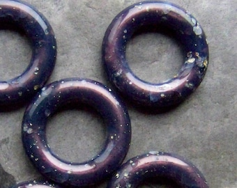 Hoop Bead, Vintage Bead, Marble Bead, Indigo Bead, Boho Bead, Tribal Bead, Earthy Bead, Organic Bead, Italian Lucite, Lucite Beads, 6 Beads