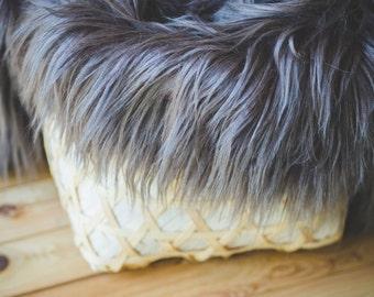 Grey Faux Fur, Newborn Photo Props, Basket Filler, Basket Stuffer, Newborn Blanket Prop, Newborn Props, Photo props, Fur