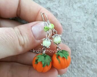 Pumpkin earrings, Halloween earrings. With leaves
