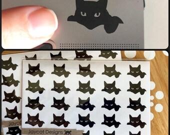 Tiny Black Cat Decals, Itty Bitty Kitty Stickers, Small Cat Decals, Vinyl Cat Decals
