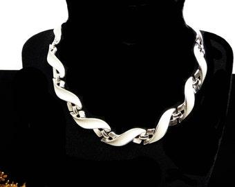 Silvertone Trifari Necklace -  Matte Silver Tone S Links - Swoosh Link Style - Classic Designer Signed Jewelry - 1960's Choker