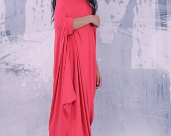 Coral loose asymmetrical maxi dress with short sleeves / plus size dress / oversized tunic dress / long tunic dress /  - UM-029-VL