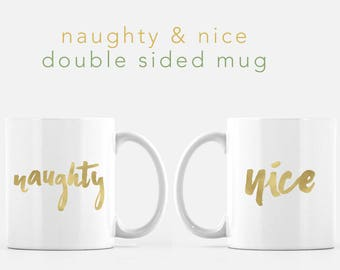 Naughty and Nice Gold Foil Christmas Mug  - Ceramic 11 fl oz. Coffee Mug