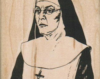Rubber stamp Sister Stern nun Catholic   wood Mounted  scrapbooking supplies 9322
