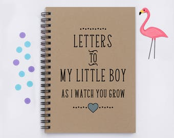 "baby shower gift, Letters to My Little Boy, -5"" x 7"" Journal, notebook, diary, memory book, scrapbook, letters to child, growing up, new mom"